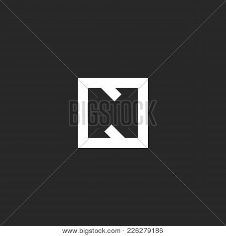 Letter N Logo Monogram, Linear Initial In The Square Geometric Shape, Black And White Typography Des