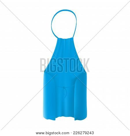 Back View Of The Blank Blue Kitchen Apron With Neck Strap, Waist Ties And A Pocket. Vector Illustrat