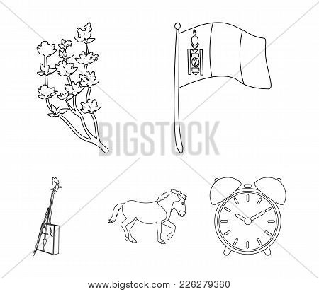 National Flag, Horse, Musical Instrument, Steppe Plant. Mongolia Set Collection Icons In Outline Sty