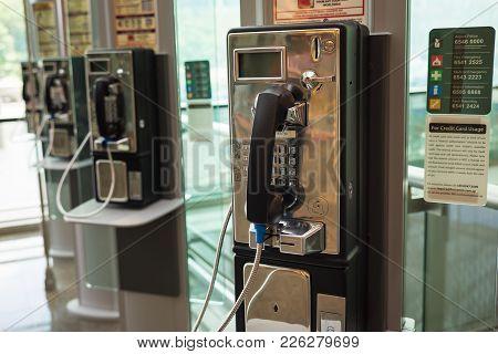 Singapore - May 2, 2016: Public Telephone At Changi Airport, Singapore