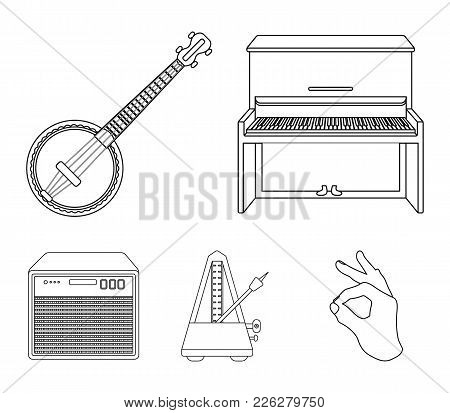 Banjo, Piano, Loudspeaker, Metronome. Musical Instruments Set Collection Icons In Outline Style Vect