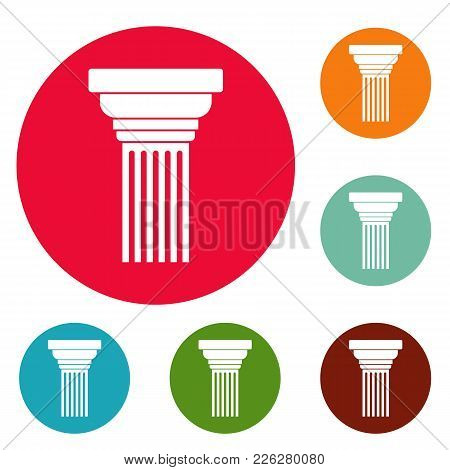 Expanding Column Icons Circle Set Vector Isolated On White Background