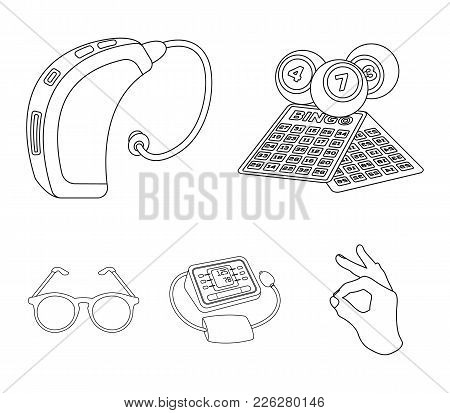 Lottery, Hearing Aid, Tonometer, Glasses.old Age Set Collection Icons In Outline Style Vector Symbol