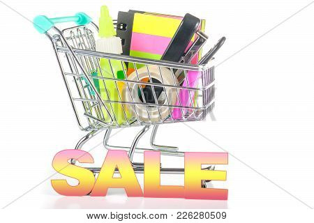 Cart For A Supermarket With Stationery. Concept - Sales And Discounts For Stationery.