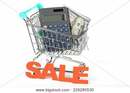 A Supermarket Trolley With Dollars And A Calculator. Concept - Sales And Discounts. Advantageous Pur