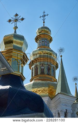Domes Of The Church And Bell Tower In The Kiev Pechersk Lavra Of The Orthodox Church, Located In Kie