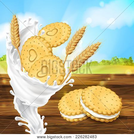 Vector Realistic Colorful Background, Promotion Banner With Cookies, Crispy Crackers With Milky Spla