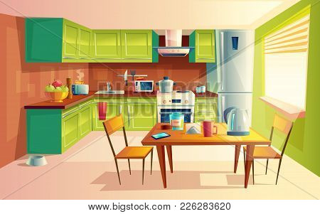 Vector Cartoon Illustration Of Cozy Modern Kitchen With Appliances, Fridge, Stove, Toaster, Microwav