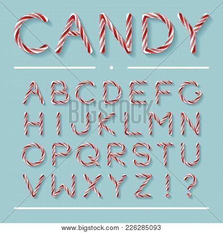 Candy Cane Font. Bright Twisted Red And White Lollypop Letters With Light Grey Shadow Isolated On Mi