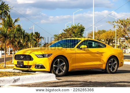Campeche, Mexico - May 20, 2017: Muscle Car Ford Mustang In The City Street.