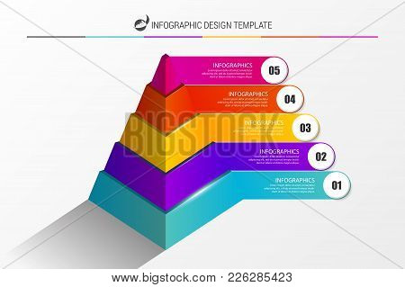 Infographic Design Template. Pyramid With 5 Steps. Vector Illustration