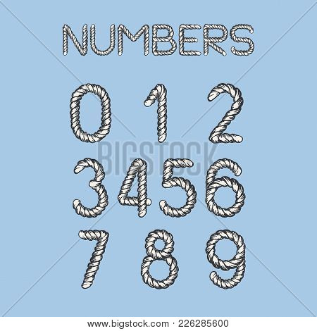 Nautical Rope Font. Light Twisted Handdrawn Cord Numbers Isolated On Blue Background. Realistic Mari