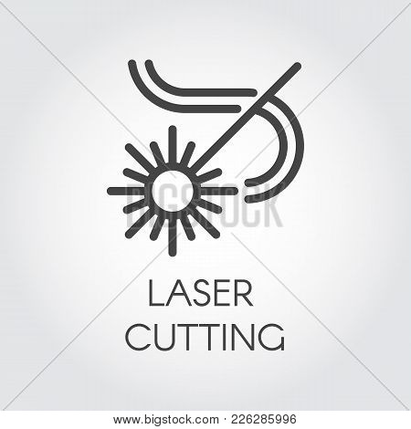 Laser Cutting Icon Drawing In Outline Design. Abstract Flash And Lines. Graphic Web Pictograph. Tech
