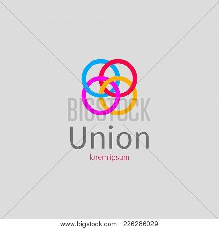 Color Icon For Union, Association, League, Community. Logo Networking, Colored Connected Rings Vecto