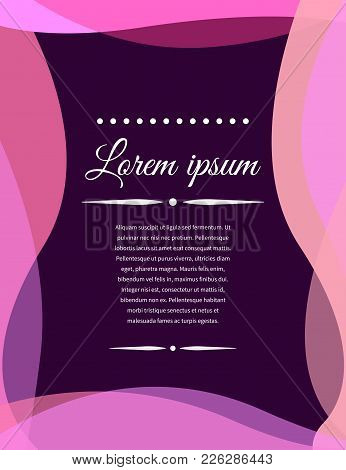 Wedding Invitation. Template Of Festive Banner, Flyer, Frame, Greeting Card With Wavy Transparent Li