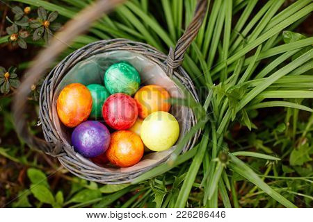 Closeup Of Colorful Easter Eggs In Basket Outddors In Green Grass. Traditional Symbol For Christian