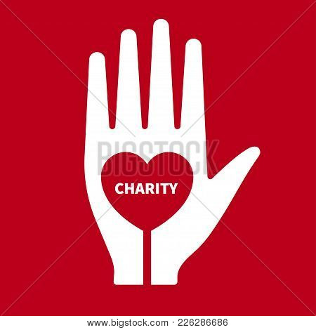 Icon Charity. Hand With Heart Inside. Logo Philanthropic Action. Humanitarian Assistance. Vector Ill