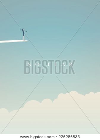 Brave, Fearless Woman Standing On Jumping Board Above Clouds Vector Concept. Symbol Of Feminism, Gen