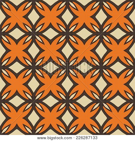 Seamless Illustrated Pattern Made Of Abstract Elements In Beige, Orange And Dark Brown
