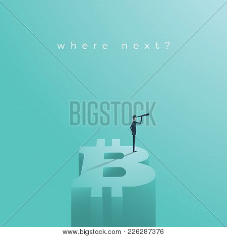 Bitcoin Future Vector Concept. Symbol Of Cryptocurrency Risk Investment, Possible Danger Of Loss, Vo