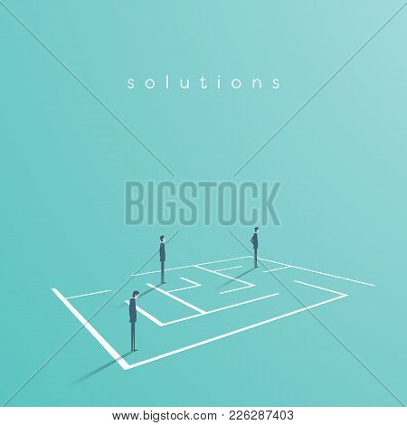 Business Team Looking For Solution In A Maze. Vector Concept Of Finding Solution, Challenge, Brainst