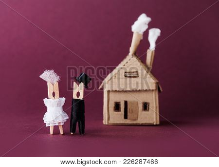 Retro Style Wedding Invitation Love Concept. Bride Groom Clothespin Peg Characters, Cardboard Home O