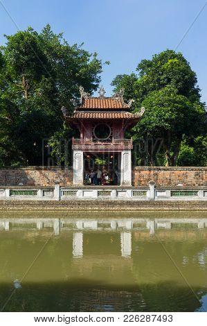 Hanoi, Vietnam - July 24, 2016: Khue Van Cac Or Stelae Of Doctors In Temple Of Literature. The Templ
