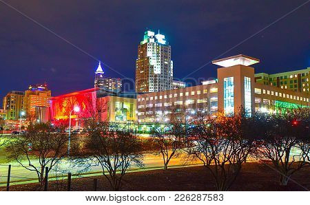 A beautiful night cityscape view of Raleigh, North Carolina.