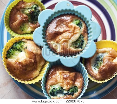 Appetizing Muffins With Broccoli Cabbage And Ruddy Crust
