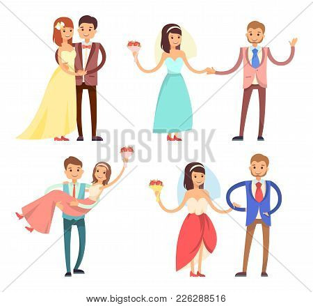 Newlyweds Celebration Collection, Partying Bride And Groom, Dancing And Hugging, Woman With Bouquet