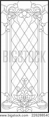 Stained-glass Panel In A Rectangular Frame, Abstract Floral Arrangement Of Buds And Leaves In The Ar