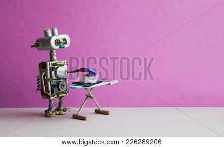 Robot Housework Assistant Ironing Black Pants With Iron On The Board. Pink Violet Wall Gray Floor Ro