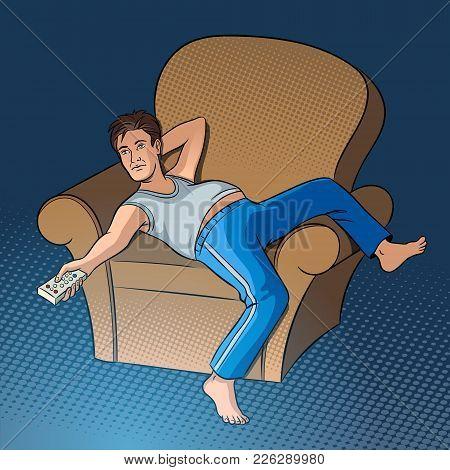 Lazy Guy Watching Tv Pop Art Style Vector Illustration. Human Illustration. Comic Book Style Imitati