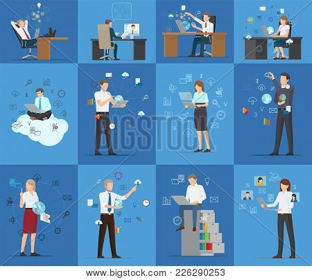 Many Technology Business Cards Vector Illustration Of Working Employees Isolated On Blue Background