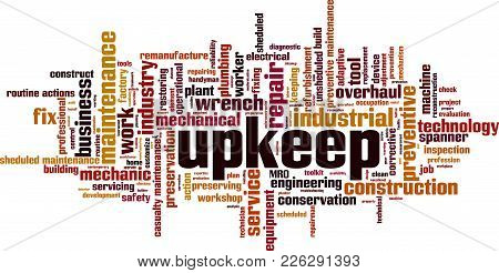 Upkeep Word Cloud Concept. Vector Illustration On White