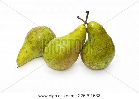 Pears On A White Background. Composition Of Pears On A White Background. Three Pears On A White Back