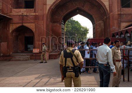 Agra, India - Circa November 2017: Crowd Of Indian People Waiting Near Ticket Office Of Taj Mahal In