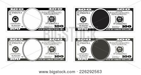 Template 100 Dollars Banknote. Bill One Hundred Dollars In Black And White Color. Suitable For Disco