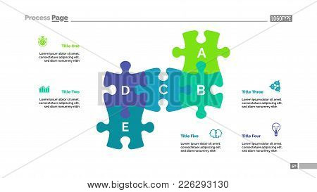 Puzzle Chart With Five Elements. Diagram, Slide, Template. Creative Concept For Infographics, Presen