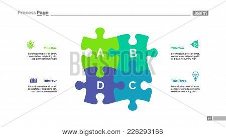 Puzzle Chart With Four Elements. Diagram, Slide, Template. Creative Concept For Infographics, Presen