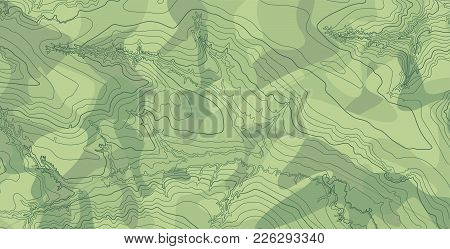 Abstract Vector Topographic Map With Isolines On Green Camouflage Pattern Background