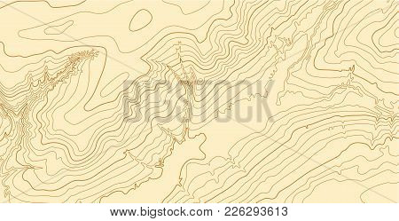Abstract Vector Topographic Map With Isolines In Brown Colors