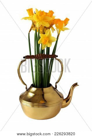 Spring Bouquet With Daffodils And In A Brass Or Copper Kettle Isolated On White Background