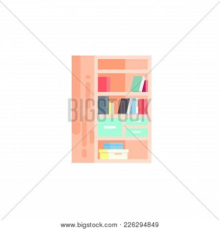 Vector Stock Isolated Illustration Icon Of Furniture Bookcase With Books On Shelves, Drawers, Openin