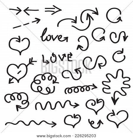 Hand Written Vector Arrows Of Different Shapes. Brushstrokes Hand Drawn Arrows, Lines Isolated On Wh