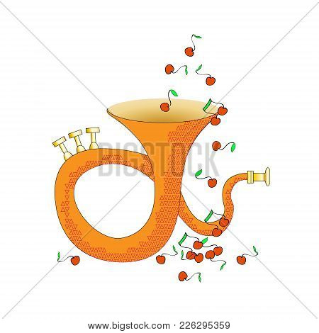 Music Instrument. Brass Musical Instrument. Vector. And The Notes Fly Like Fruits. Fun However
