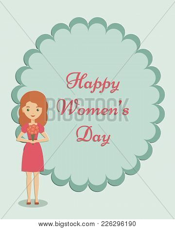 Woman Holding Bouquet Of Flowers With Space For Text. Female Character In Flat Design. Happy Womans