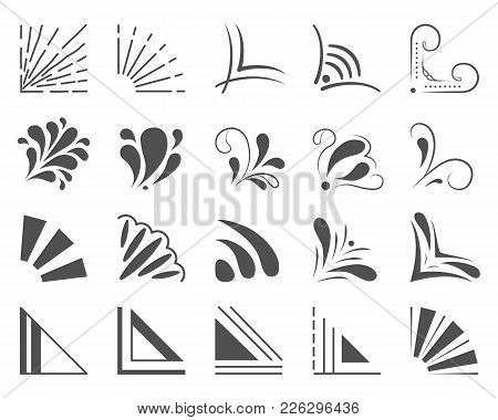 Set Of 20 Hand Drawn Corners And Design Elements. Hand Drawn Corner Set. Vector Illustration