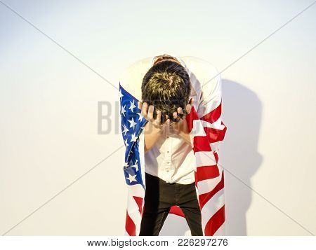 Depressive Teenager With The Flag Of The United States, Despair Concept