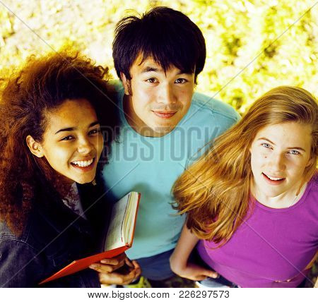 Portrait Of International Group Of Students Close Up Smiling, Blond Girl, Asian Boy, Young African W